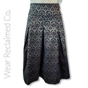 CHENAULT Pleated Black Flocked Velvet Midi Skirt